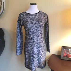 ATHLETA Long Sleeve Black Grey Sweater Dress